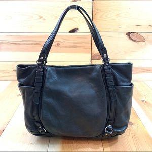 Olivia Harris black leather handbag purse bag